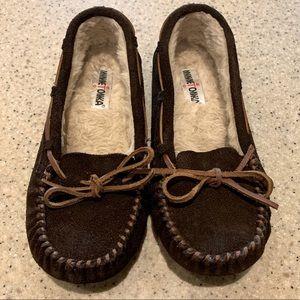 Minnetonka Brown Leather Moccasins